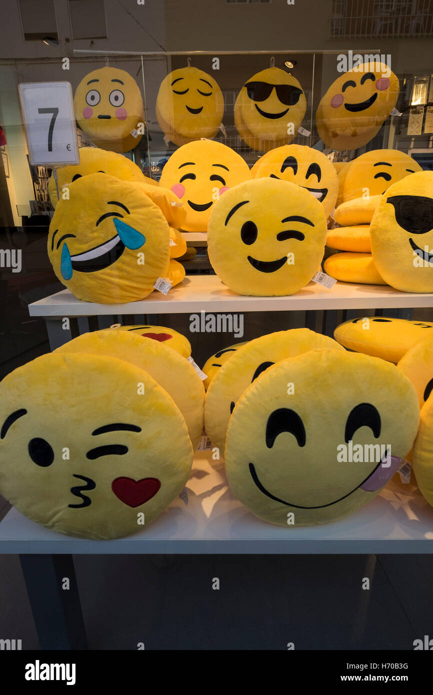 Emoji cushions for sale - Stock Image