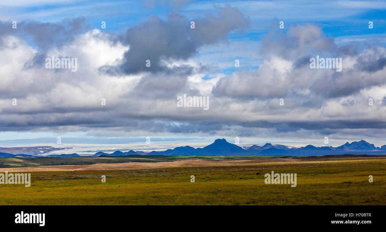 A view of the Myrdalsjokull glacier near Vik, Iceland. - Stock Image