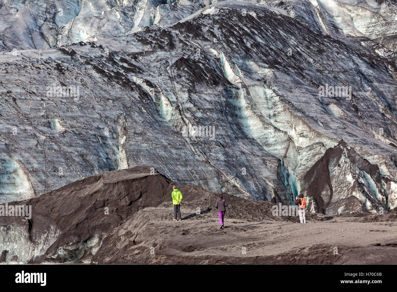 A view of the Solheimajokull Glacier in Iceland. - Stock Image