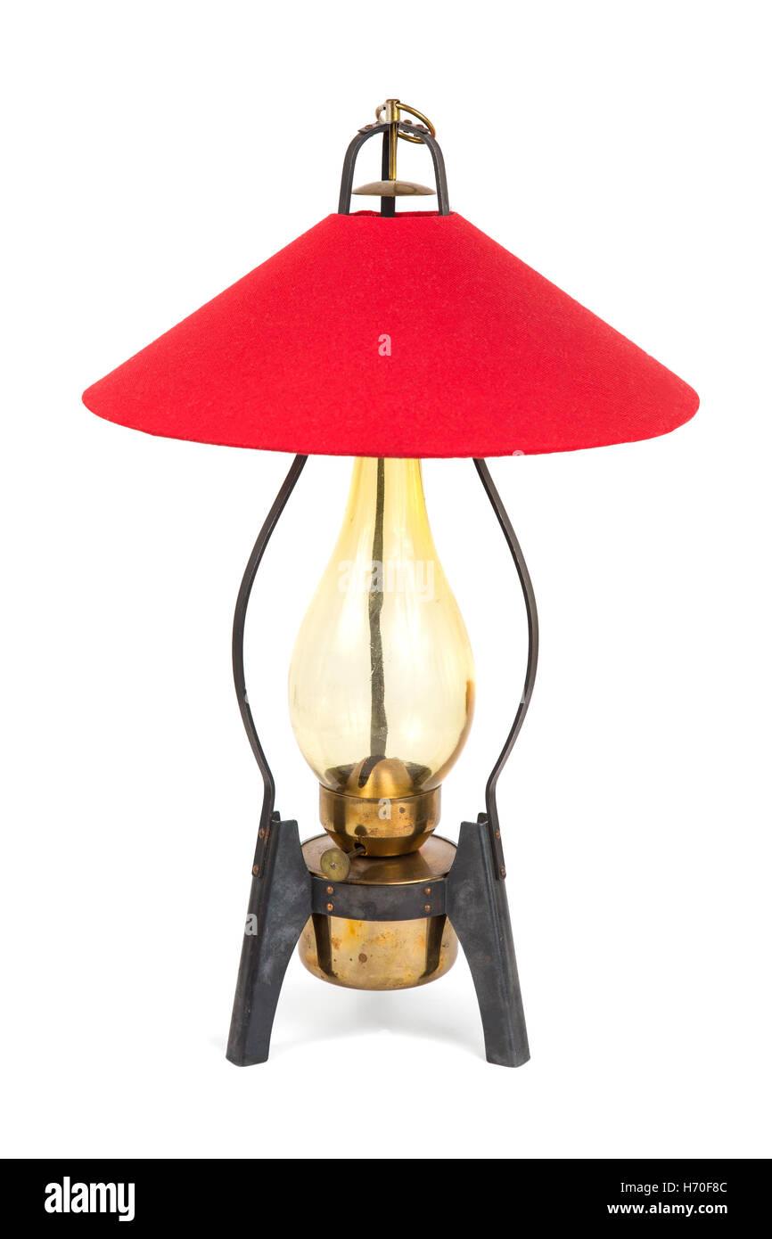 Old, retro kerosene lamp isolated on white background - Stock Image