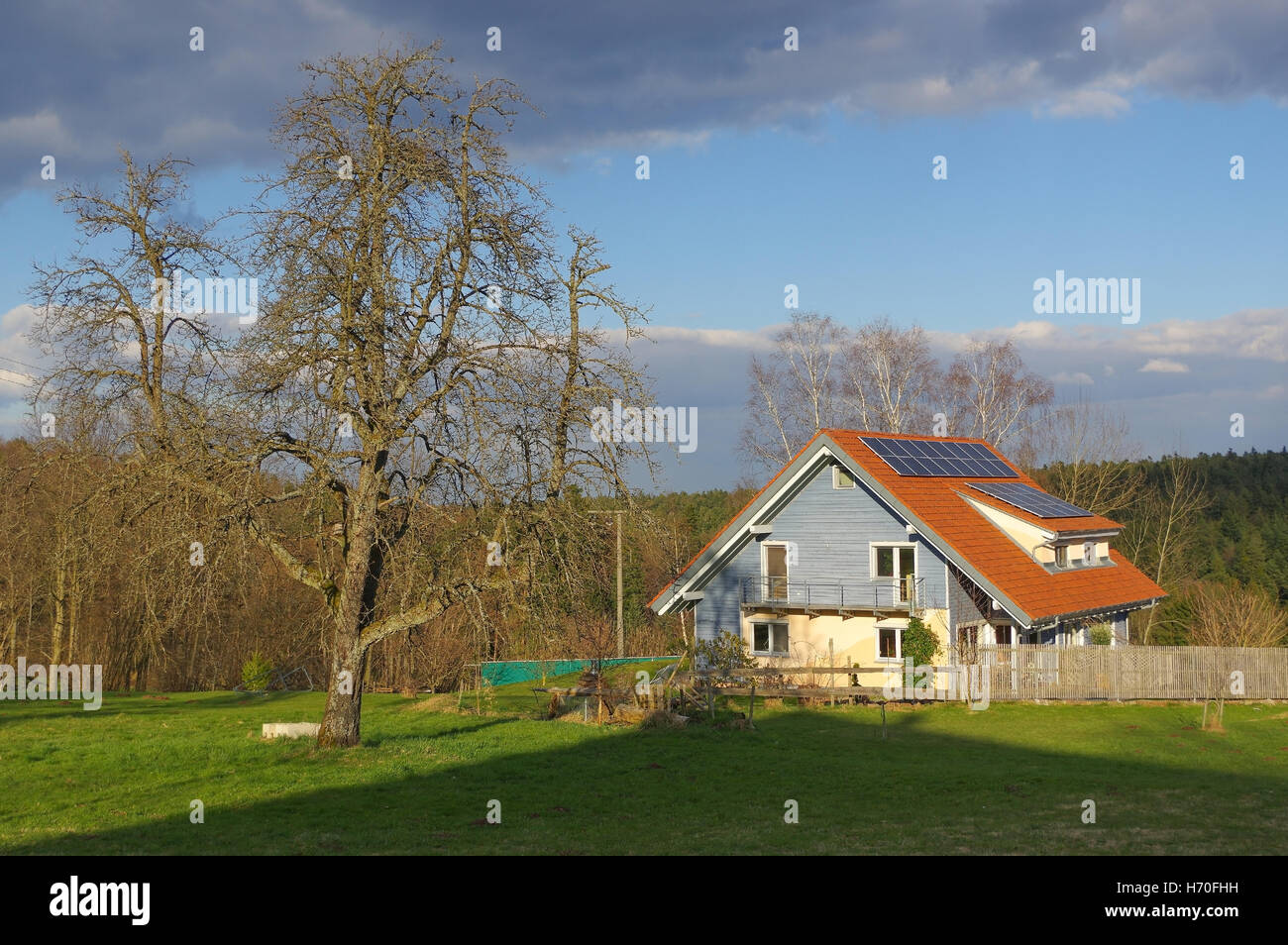 German rural landscape with wooden house near Black Forest Baden Wuertemberg, Schoemberg in Germany Stock Photo