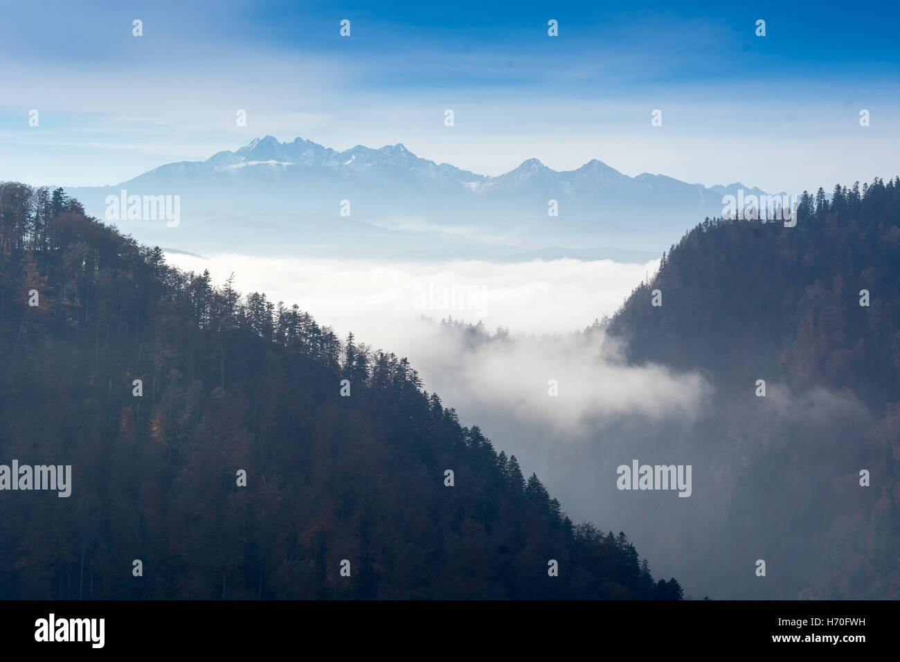 Aerial view of Pieniny and Tatra mountains with clouds and fog in the morning - Stock Image