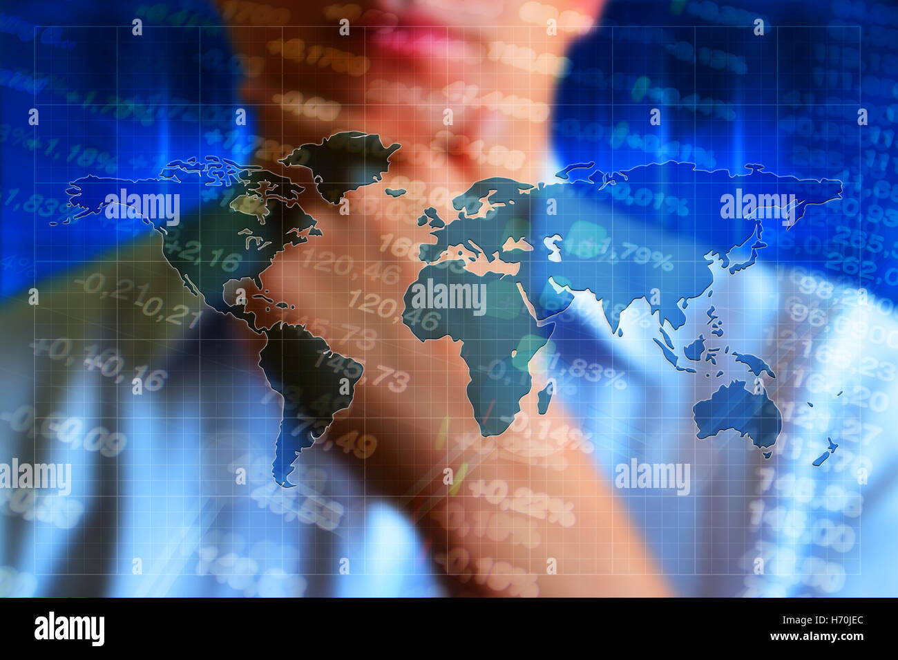 Global economy business concept background - Stock Image