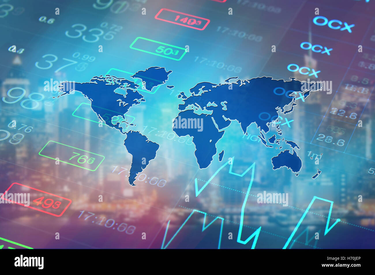 Global economy, financial, stock market, global business concept background. Stock market data and chart at background - Stock Image