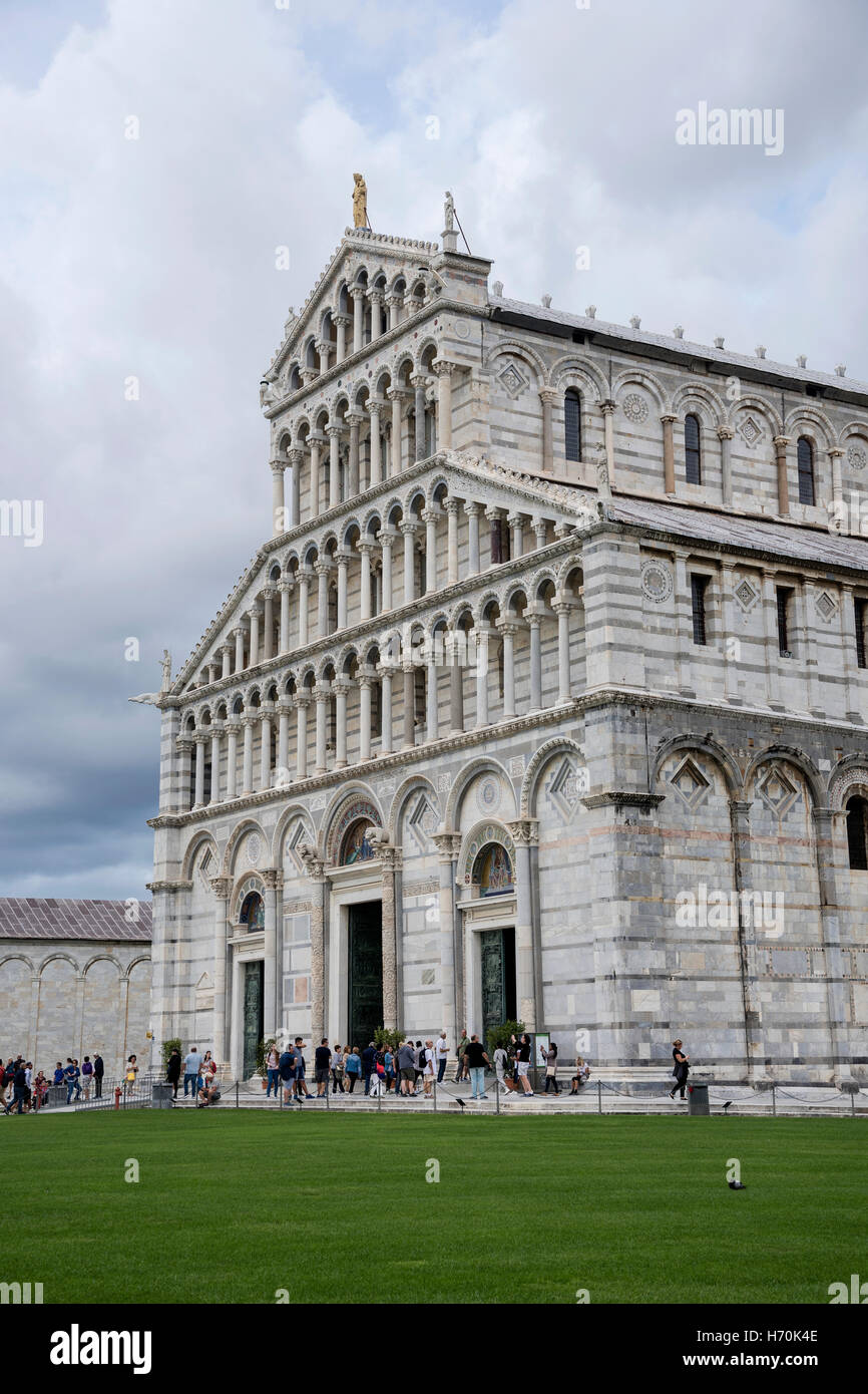 Side view of Pisa Cathedral façade, Pisa , city in Tuscany, Central Italy Stock Photo