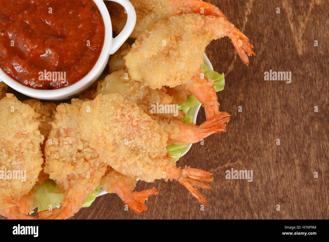 macro breaded butterfly shrimp Stock Photo