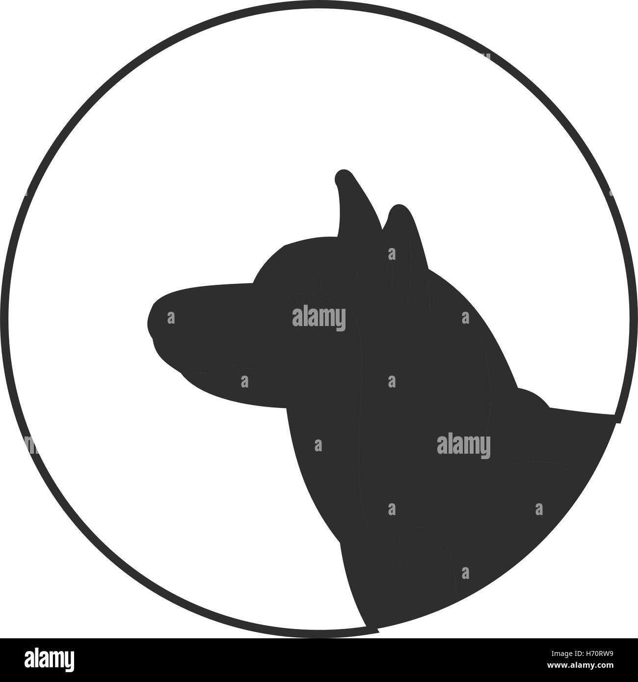 Silhouette of a dog head siberian husky. Companion and friend for man. Vector illustration - Stock Vector