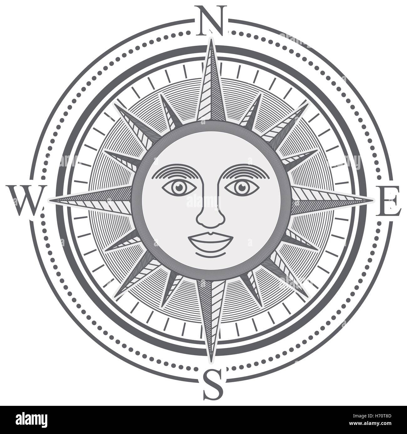 Vintage Compass Rose With The Sun In Center Black And White Design Vector Illustration