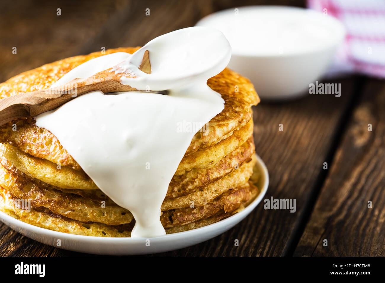 Pancakes on sour cream