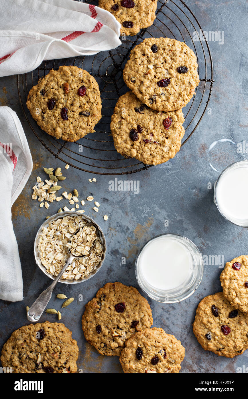 Healthy oatmeal cookies with dried fruits - Stock Image