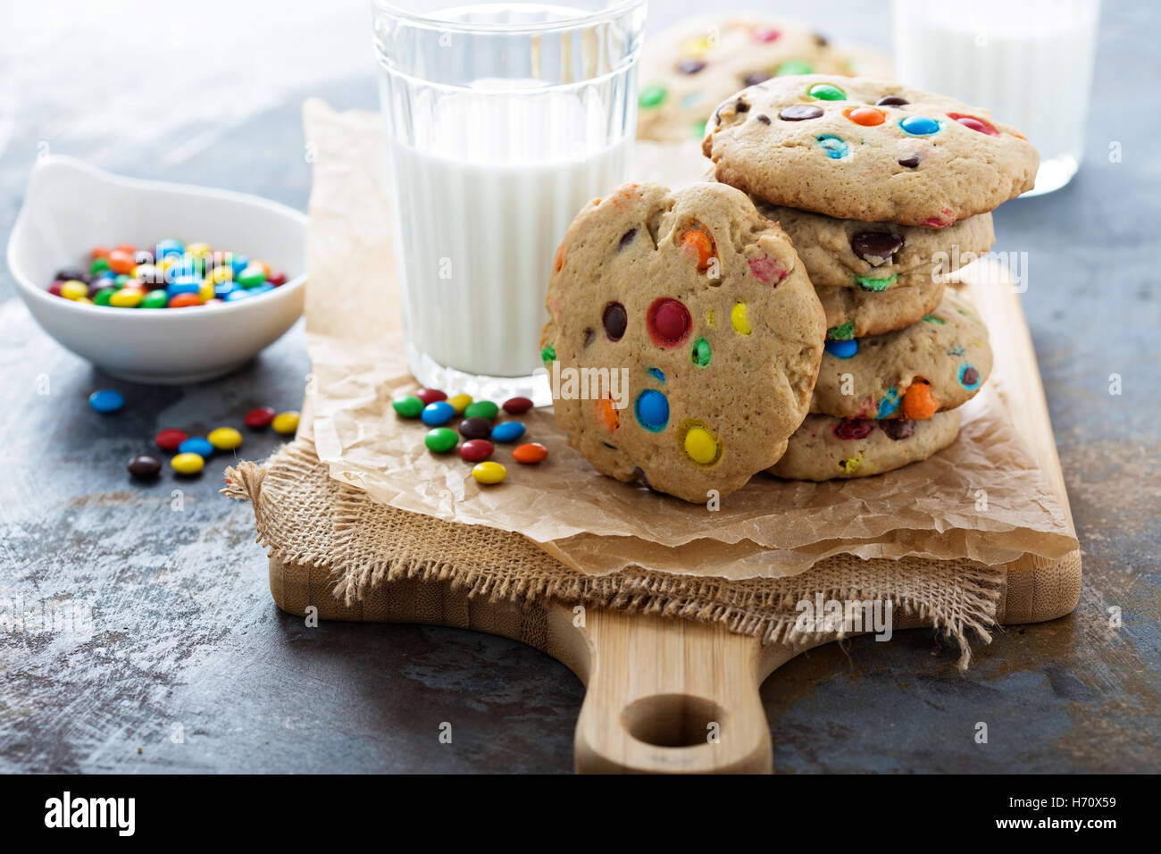 Chocolate chip and candy cookie - Stock Image
