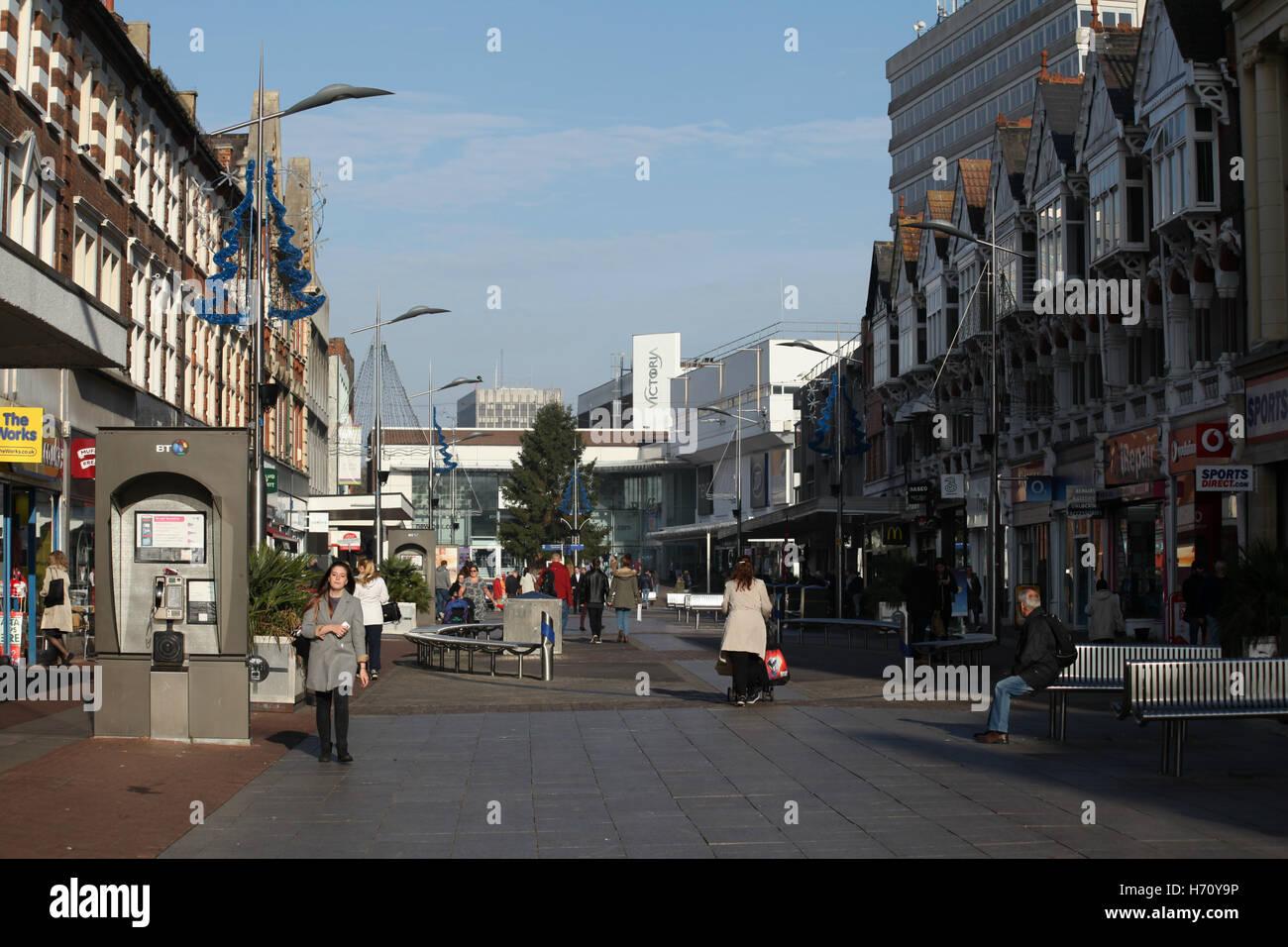Shopping precinct, High Street, Southend-on-Sea, Essex - Stock Image