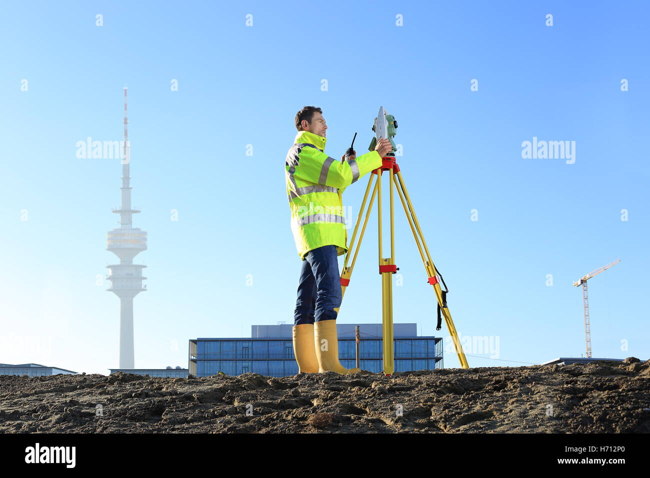 A Surveyor in Munich on hill - Stock Image