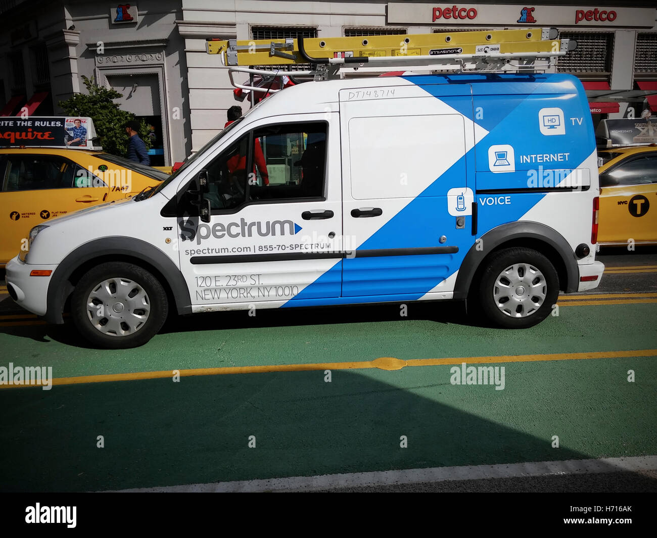 A Spectrum neé Time Warner Cable van in New York on Saturday