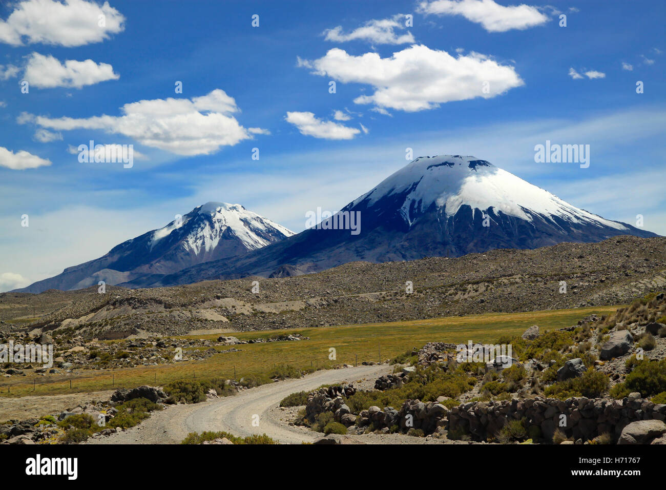 Scenic view of volcanic group. Payachata volcanic group at Lauca National Park, Chile - Stock Image