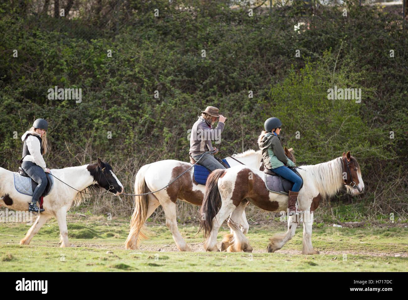 children pony trekking with adult leader - Stock Image