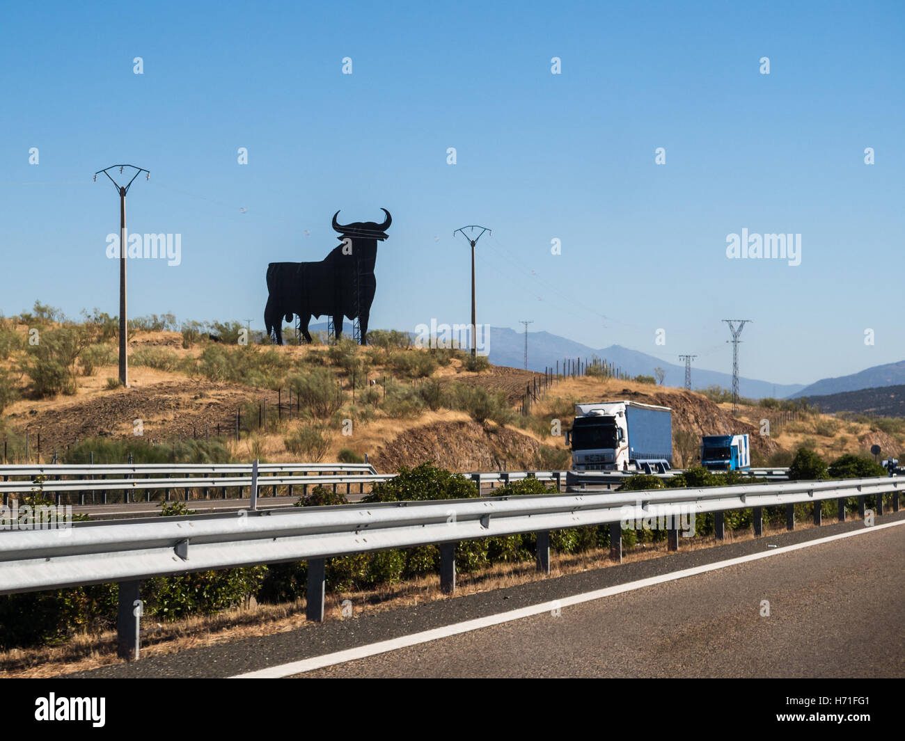 The Osborne bull is a 14-metre (46 ft) high black silhouetted image of a bull and is regarded as the unofficial - Stock Image