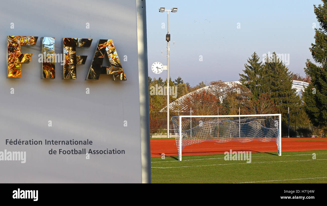 Zurich,May 22,2016:fall reflected into Fifa's HQ sign; after being re-elected president Sepp Blatter resigned - Stock Image