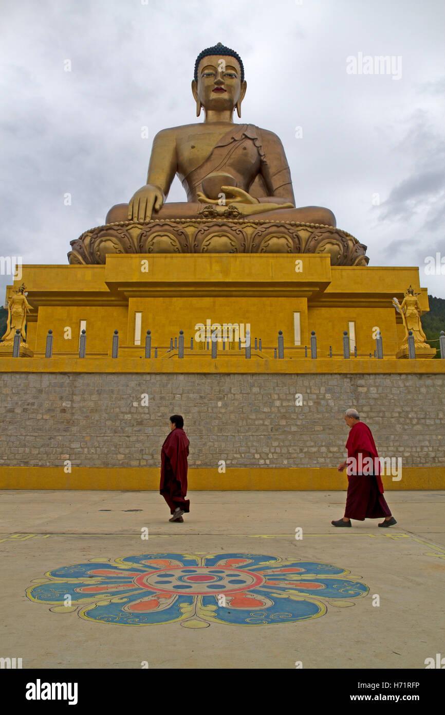 The Buddha Dordenma statue above Thimphu - Stock Image