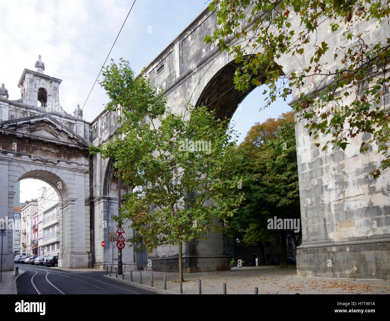 Lisbon, Aguas Livres, aqueduct pure drinking water Stock Photo