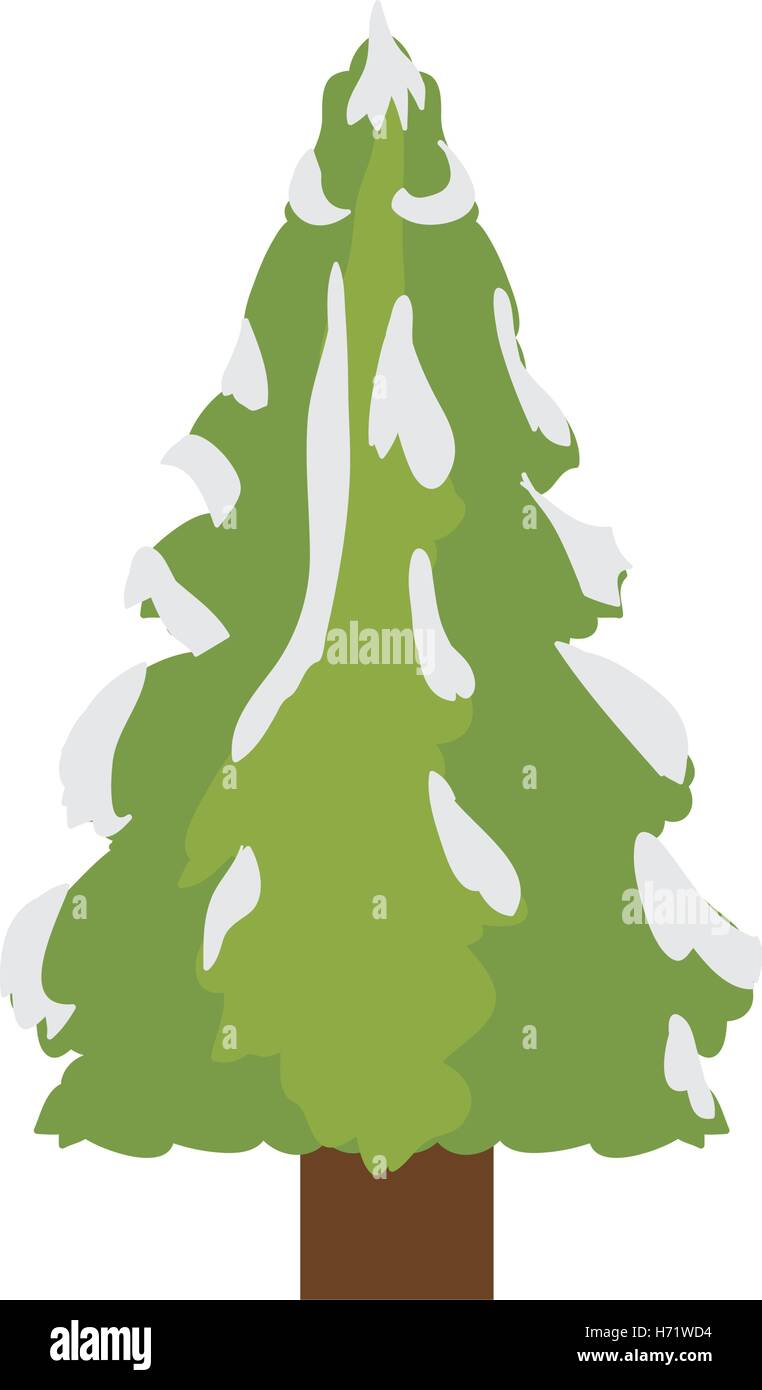 Tall Christmas Tree Cartoon.Green Pine Tall Tree Icon Over White Background Vector