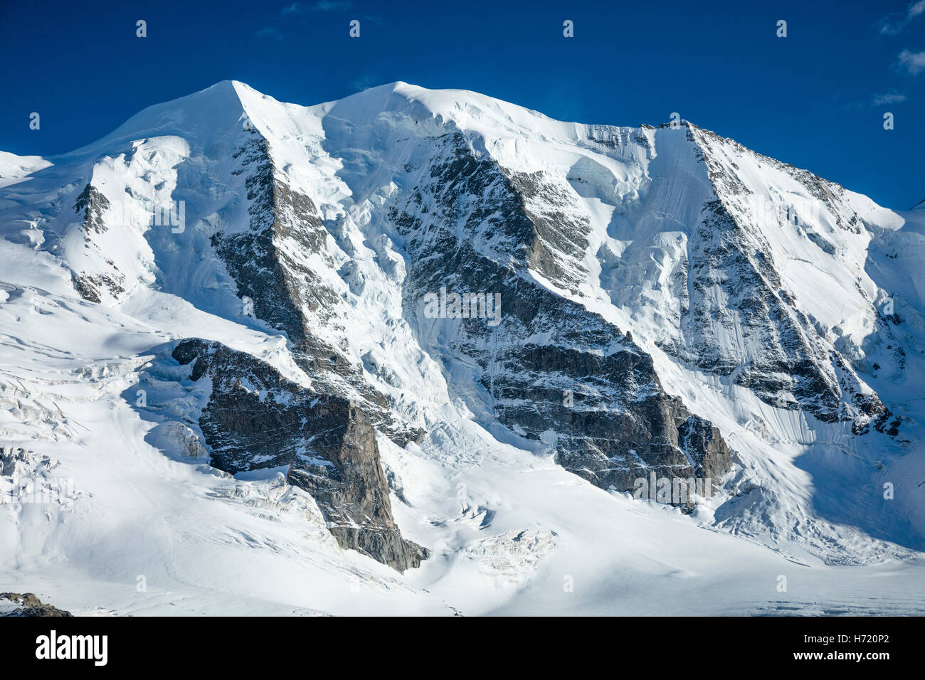 Piz Palu from Diavolezza, Berniner Alps, Graubunden, Switzerland. - Stock Image
