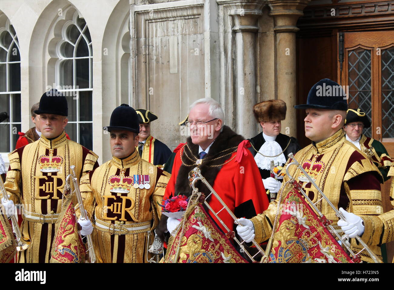 Lord Mayor of  London Elect 2016 with Heralds - Stock Image