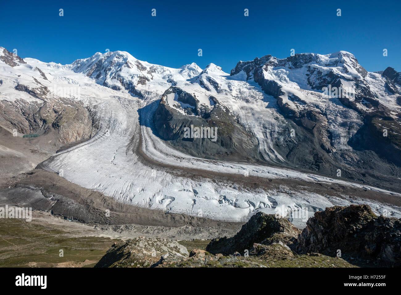 Lyskamm and Breithorn above the Gorner Glacier, Zermatt, Pennine Alps, Valais, Switzerland. - Stock Image