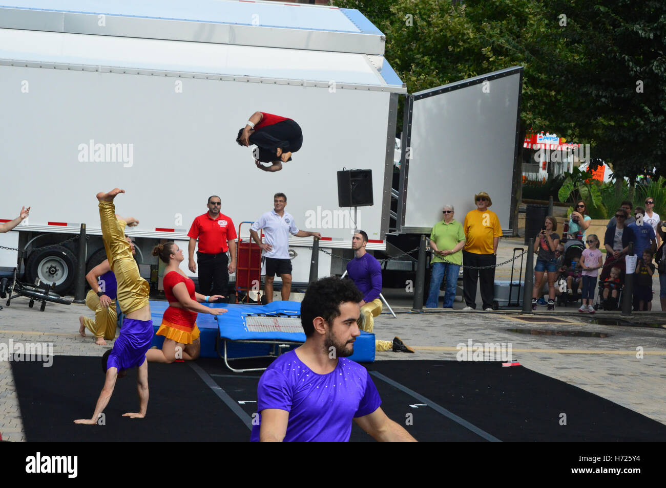 Circus Performers at Sweet corn & Blues Festival Stock Photo