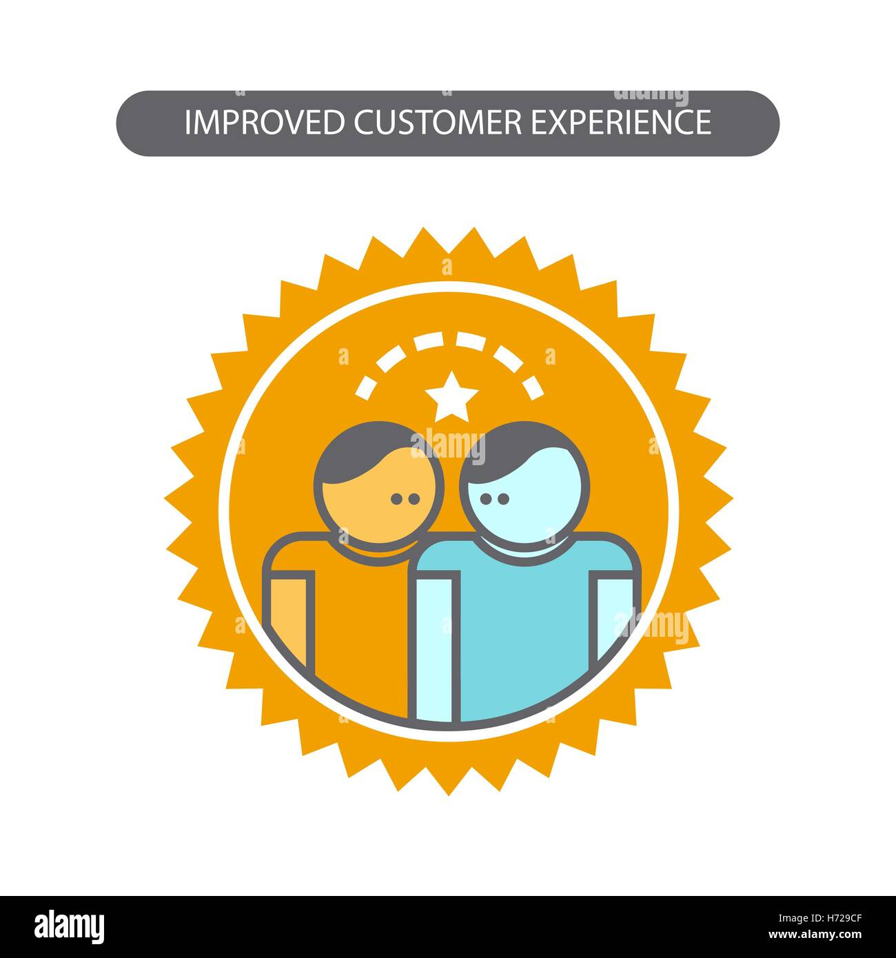 Line Icon With Flat Design Elements Of Business Concepts Improved Customer Experience Modern Vector Pictogram