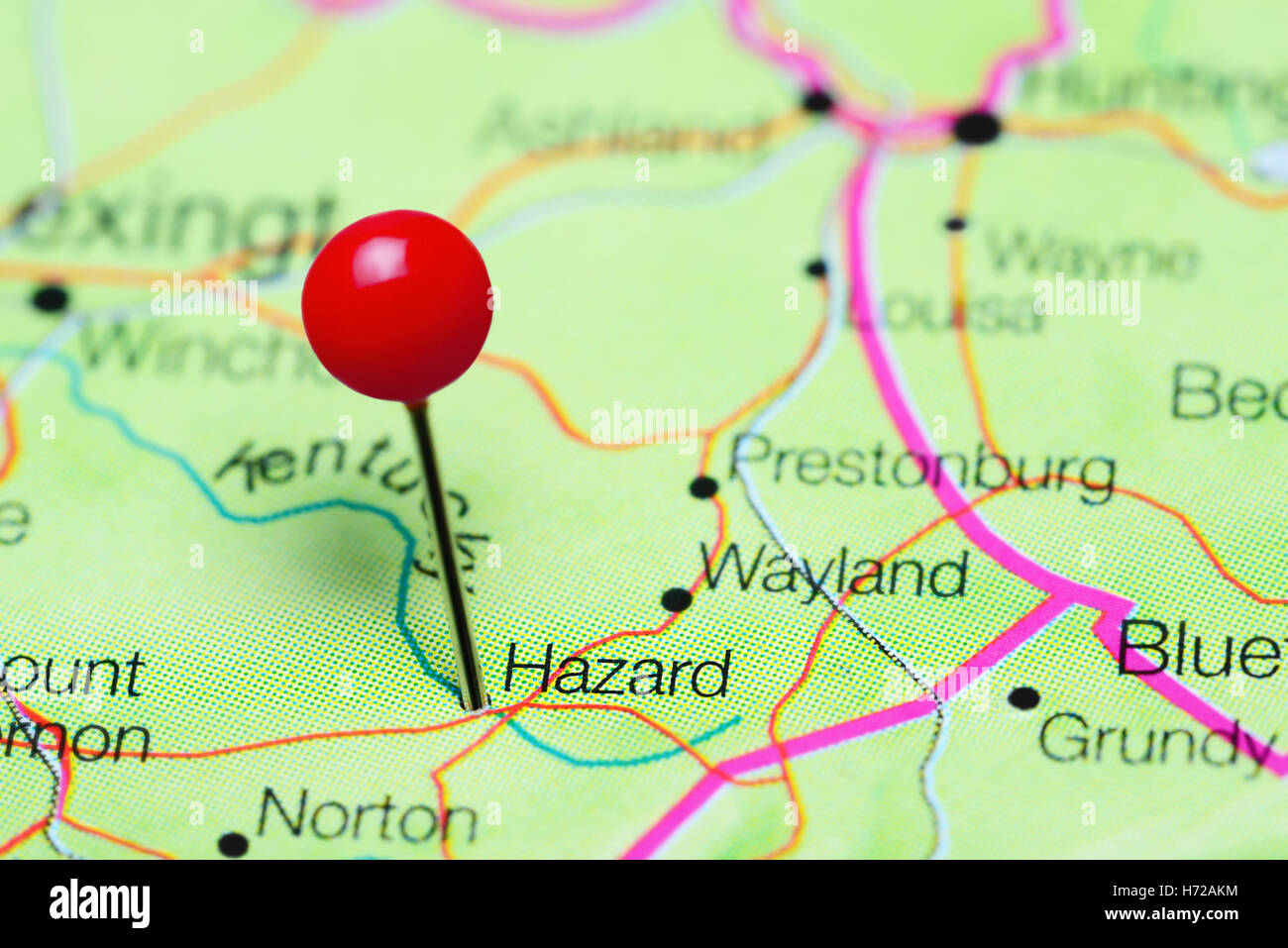 Hazard pinned on a map of Kentucky, USA Stock Photo ...