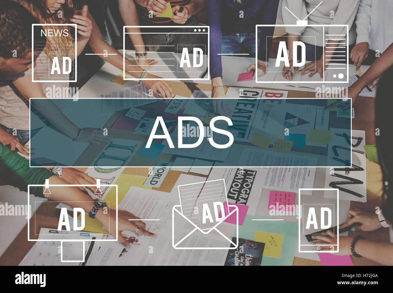 Advertisement ADS Commercial Marketing Advertising Branding Concept - Stock Image