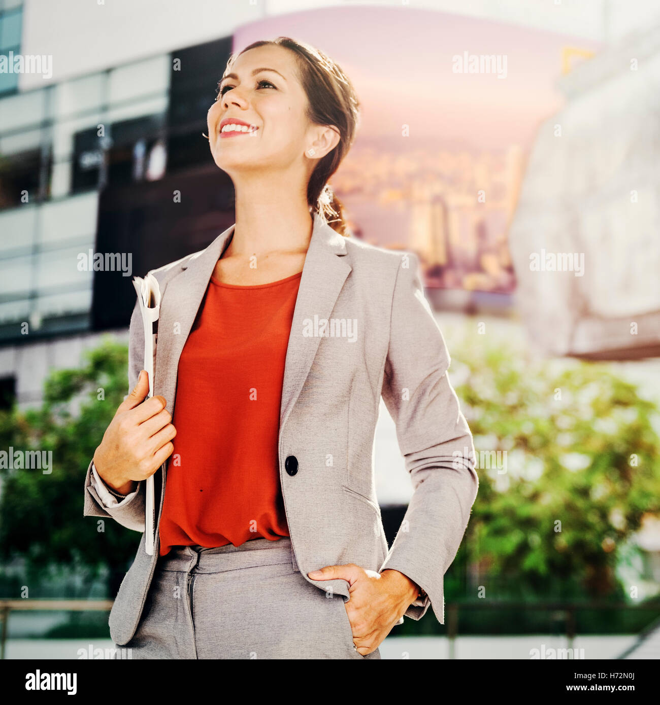 Businesswoman Vision Strategy the Way Forward Concept - Stock Image