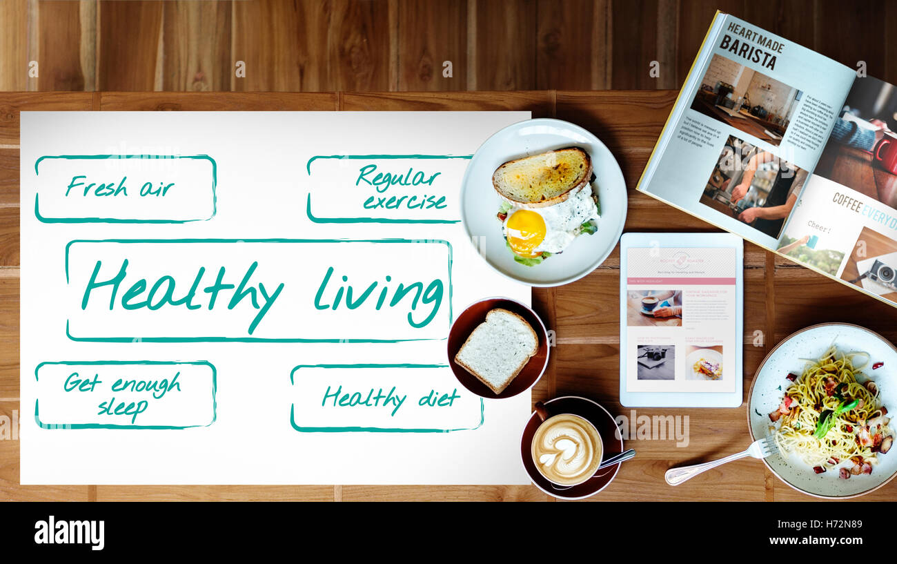 Healthy Living Excersice Diet Nutrition Graphic Concept - Stock Image