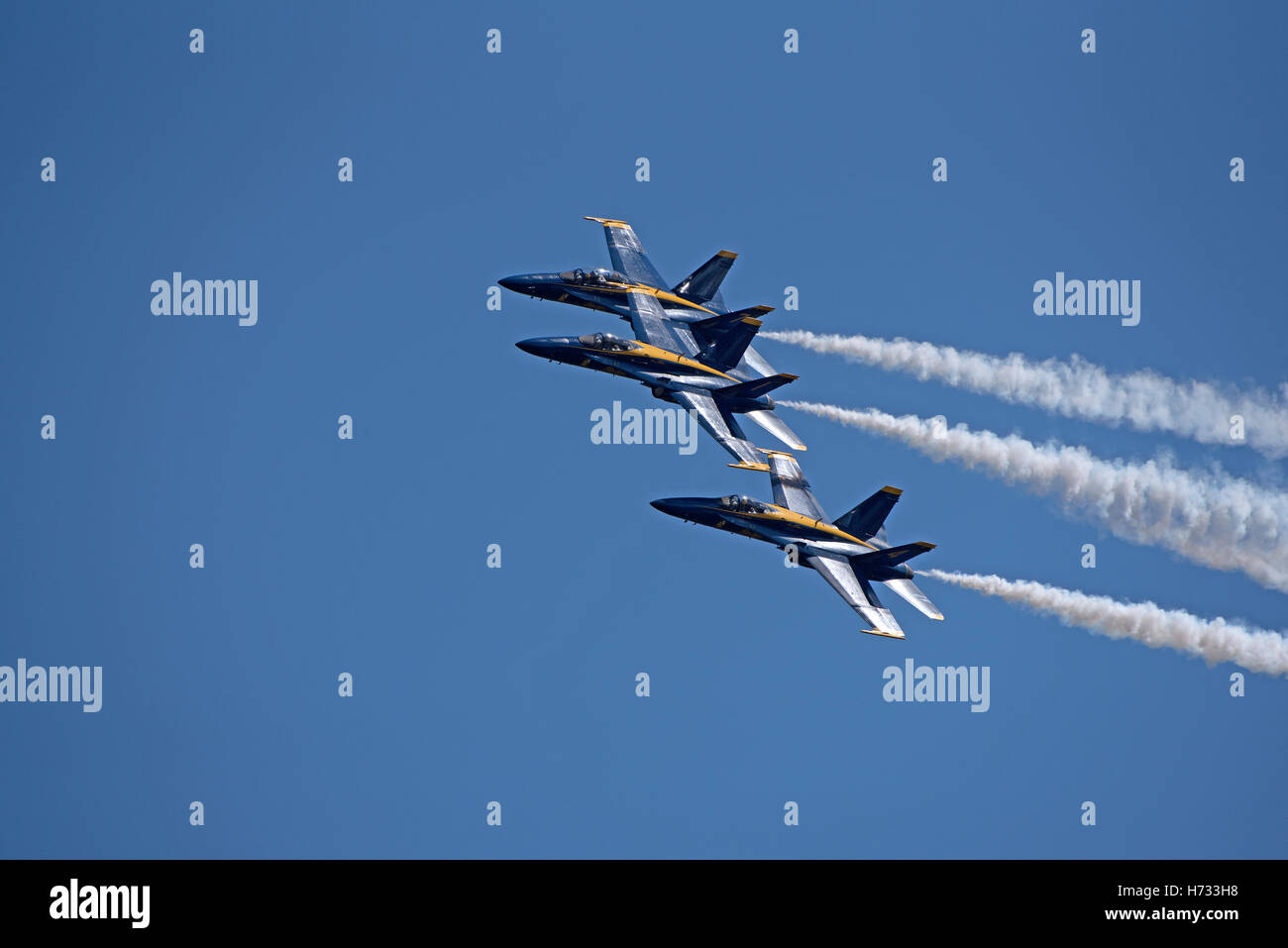 NAS Pensacola Florida USA  Blue Angels FA 18 Hornet jets in flight over their Pensacola base Stock Photo