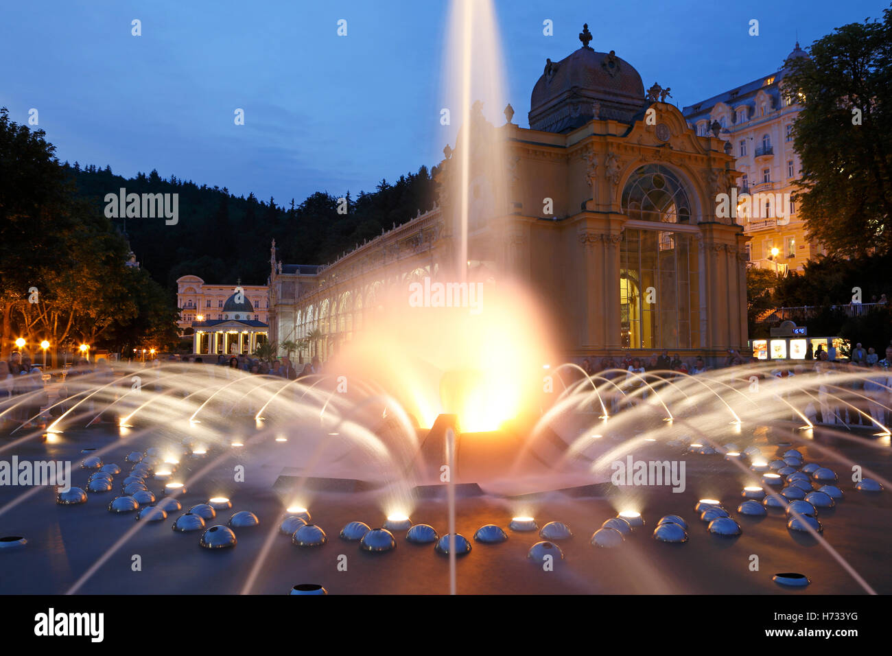 Singing Fountain Marienbad Marianske Lazne spa Czech Republik - Stock Image