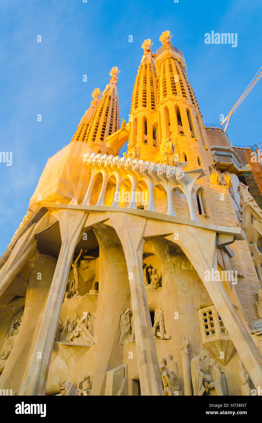 Gaudi's La Sagrada Familia cathedral  in Barcelona, Spain. - Stock Image