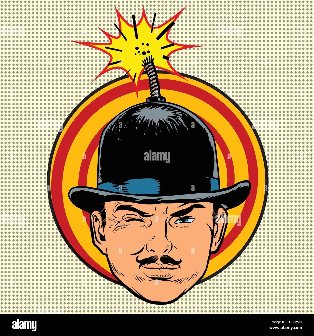 Spy terrorist in the hat bomb wick - Stock Vector