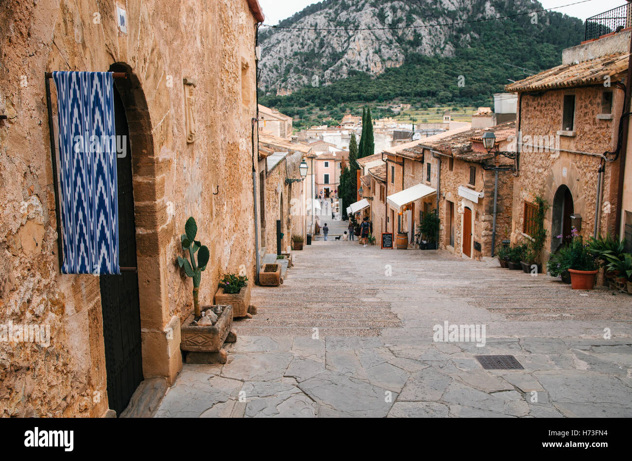 Long stairway Via Crusis with a lot of steps to the Calvary church from the center of Pollensa, Mallorca. - Stock Image