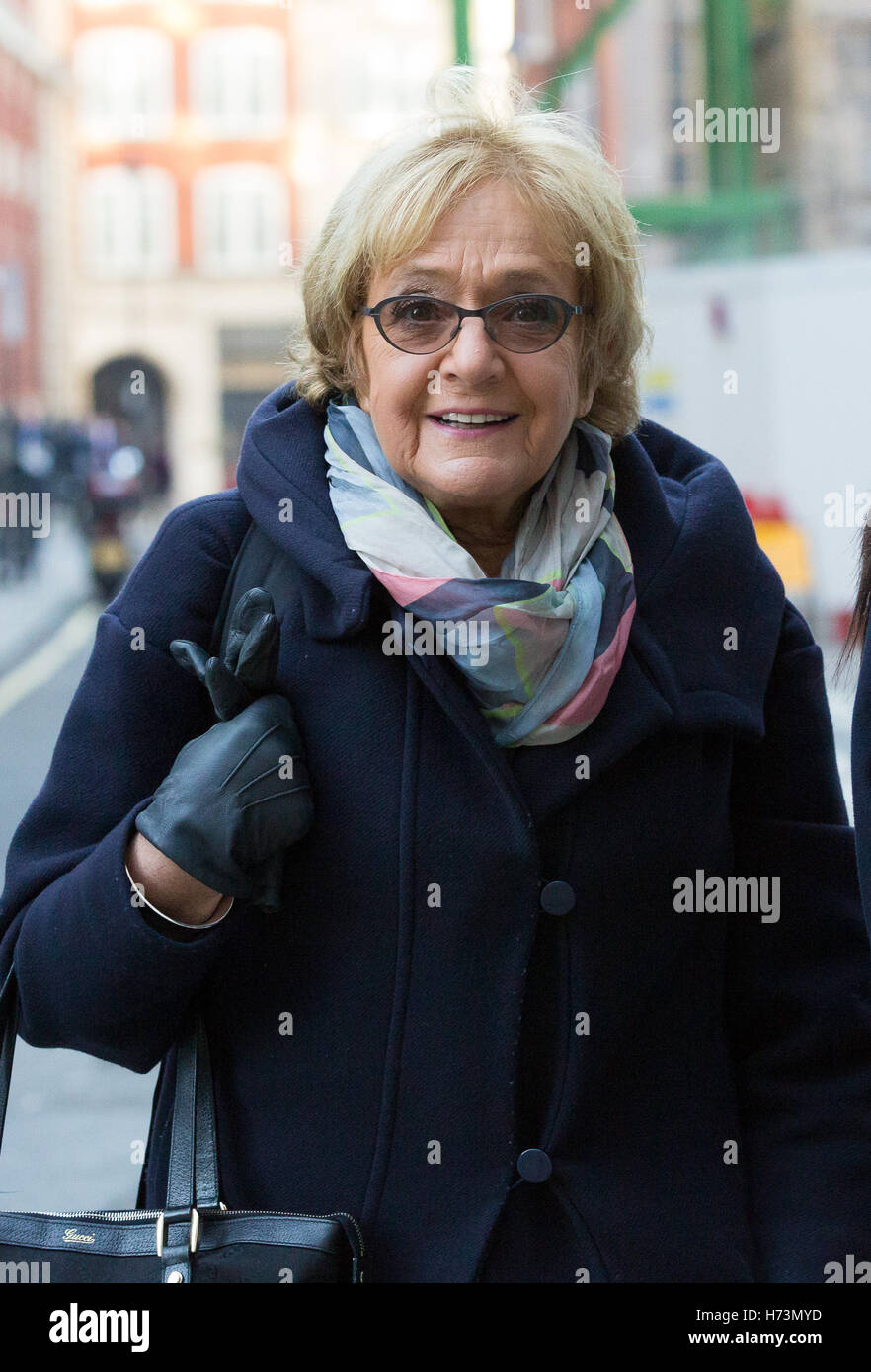Margaret Hodge MP arrives to speak at the Resolution Foundation about its report on tax policy and post Brexit tax Stock Photo