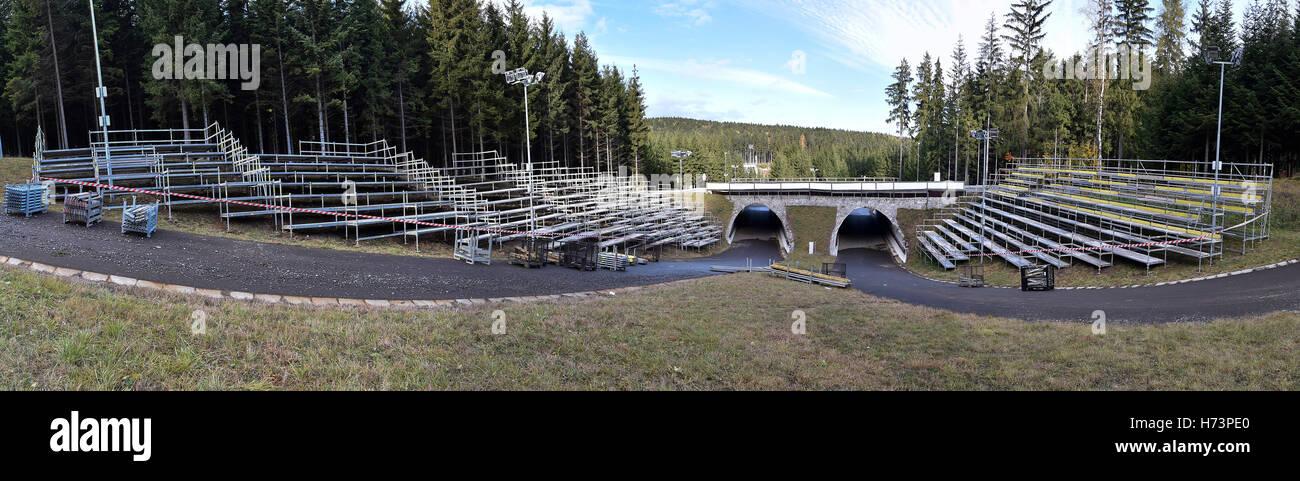 Nove Mesto Na Morave, Czech Republic. 02nd Nov, 2016. Organisers prepare mobile tribunes for the IBU (International - Stock Image