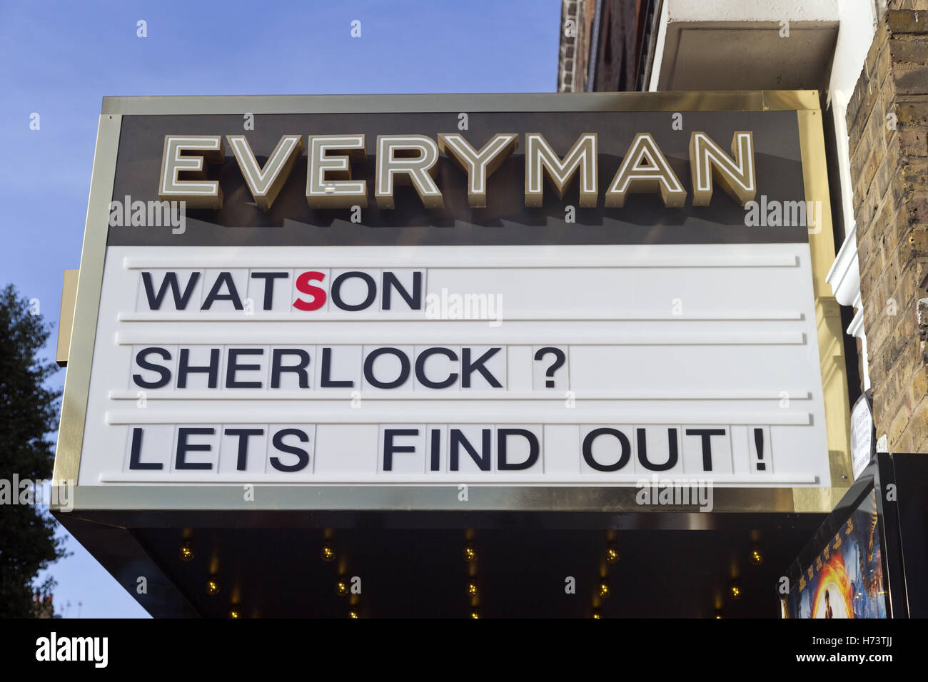 London, UK. 2nd Nov. 2016. Catchy amusing Sherlock sign 'WATSON SHERLOCK? LETS FIND OUT',  newly refurbished - Stock Image