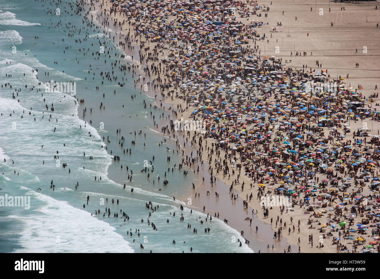 Rio de Janeiro, Brazil, November 02, 2016: Copacabana and Leme top views. Summer officially begins in Brazil only - Stock Image