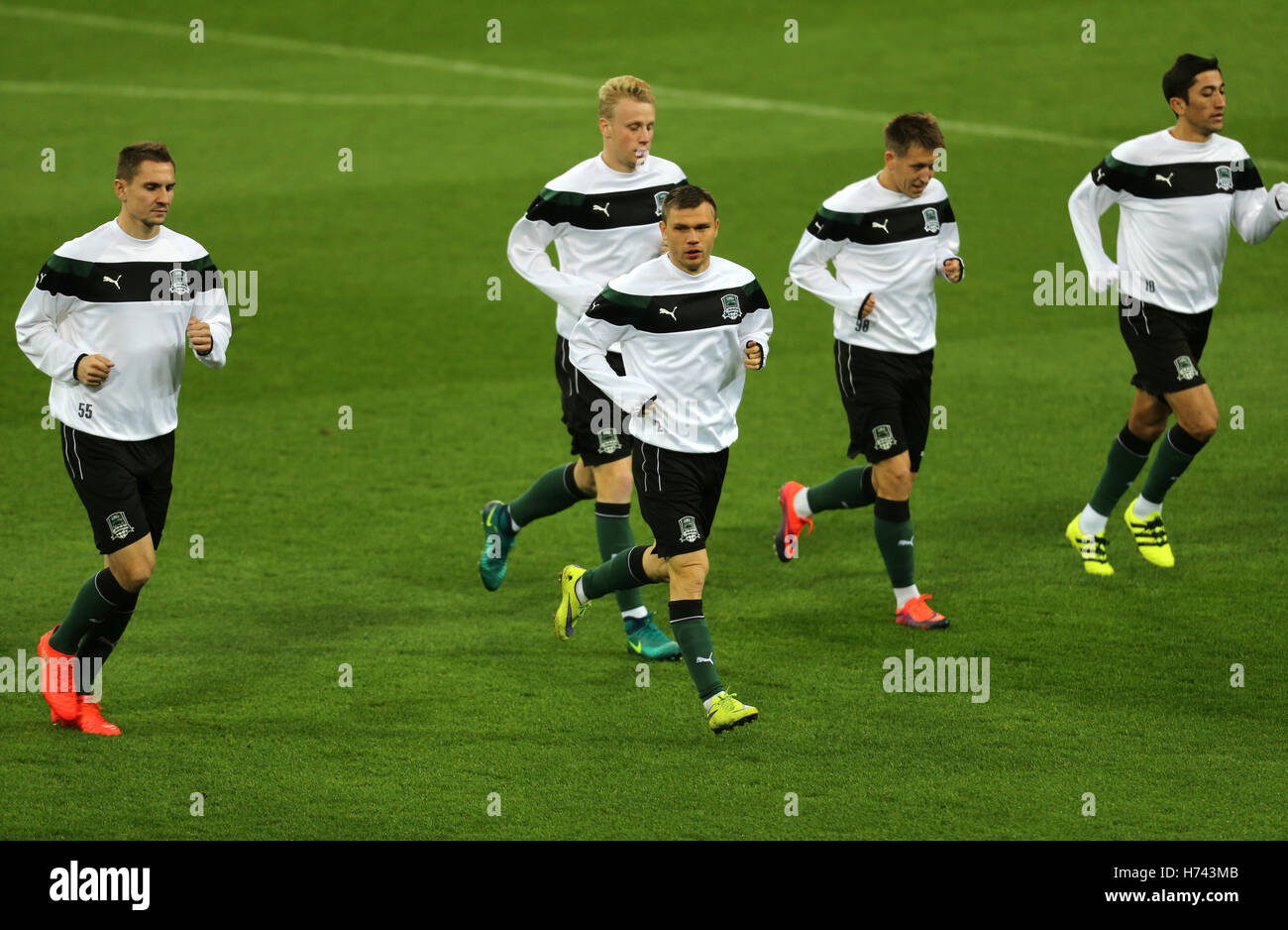 1018d31fb9211 02nd Nov, 2016. FC Krasnodar players jogging during the team's final  training session before meeting the German team FC Schalke 04 in the Europa  League in ...