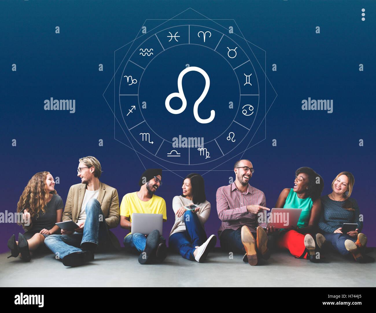 Leo Horoscope Zodiac Fortune Graphic Concept - Stock Image