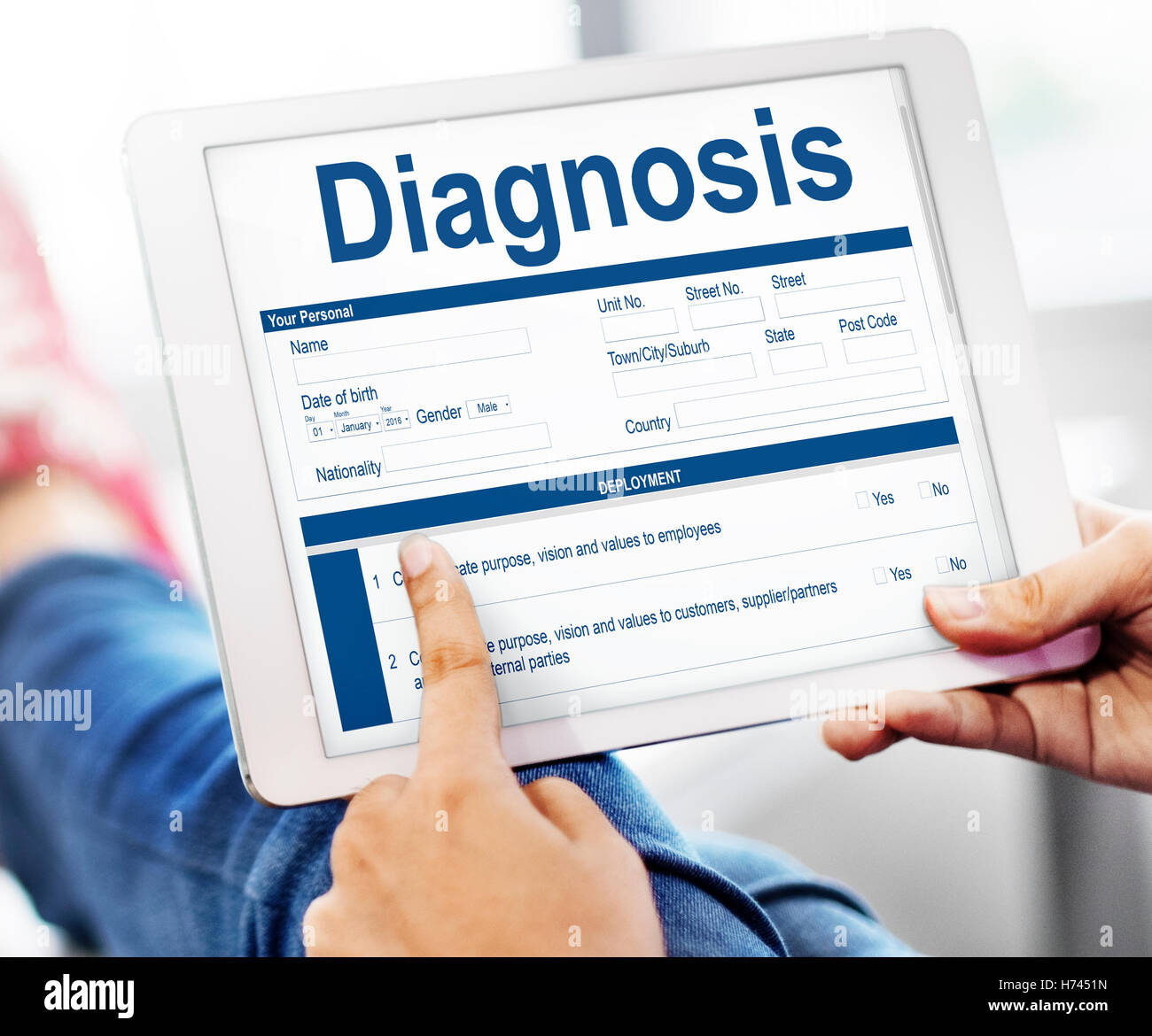 Diagnosis Clinical Document Personal Informatin Concept - Stock Image
