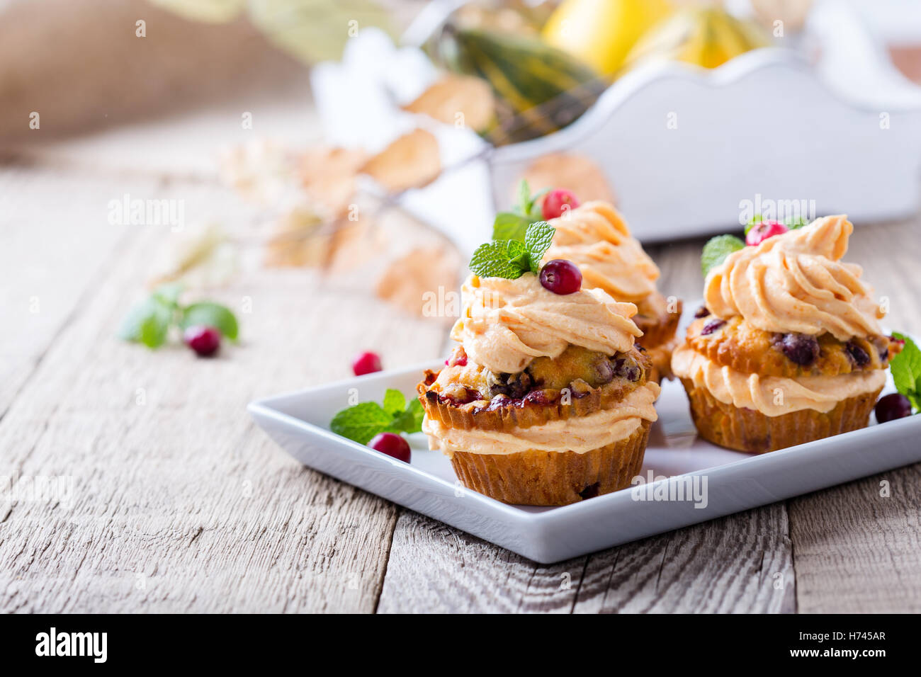 Homemade autumn cranberry pumpkin cupcakes with cream cheese icing on rustic wooden table - Stock Image