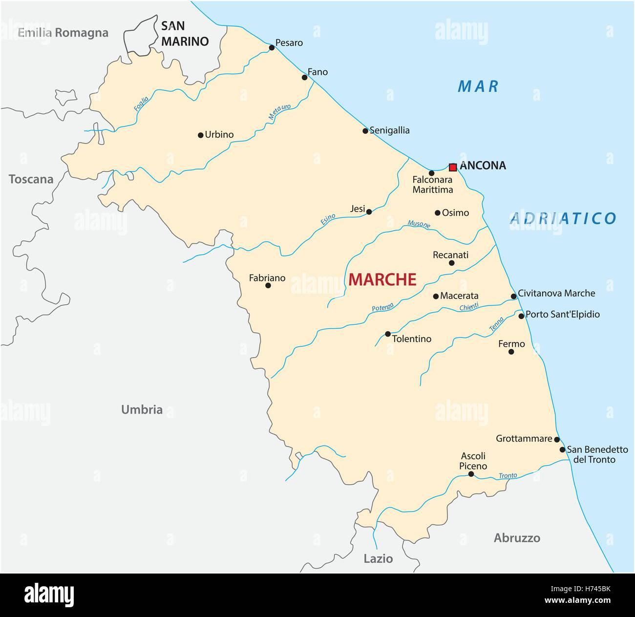 Vector map of the Italian region Marche - Stock Image