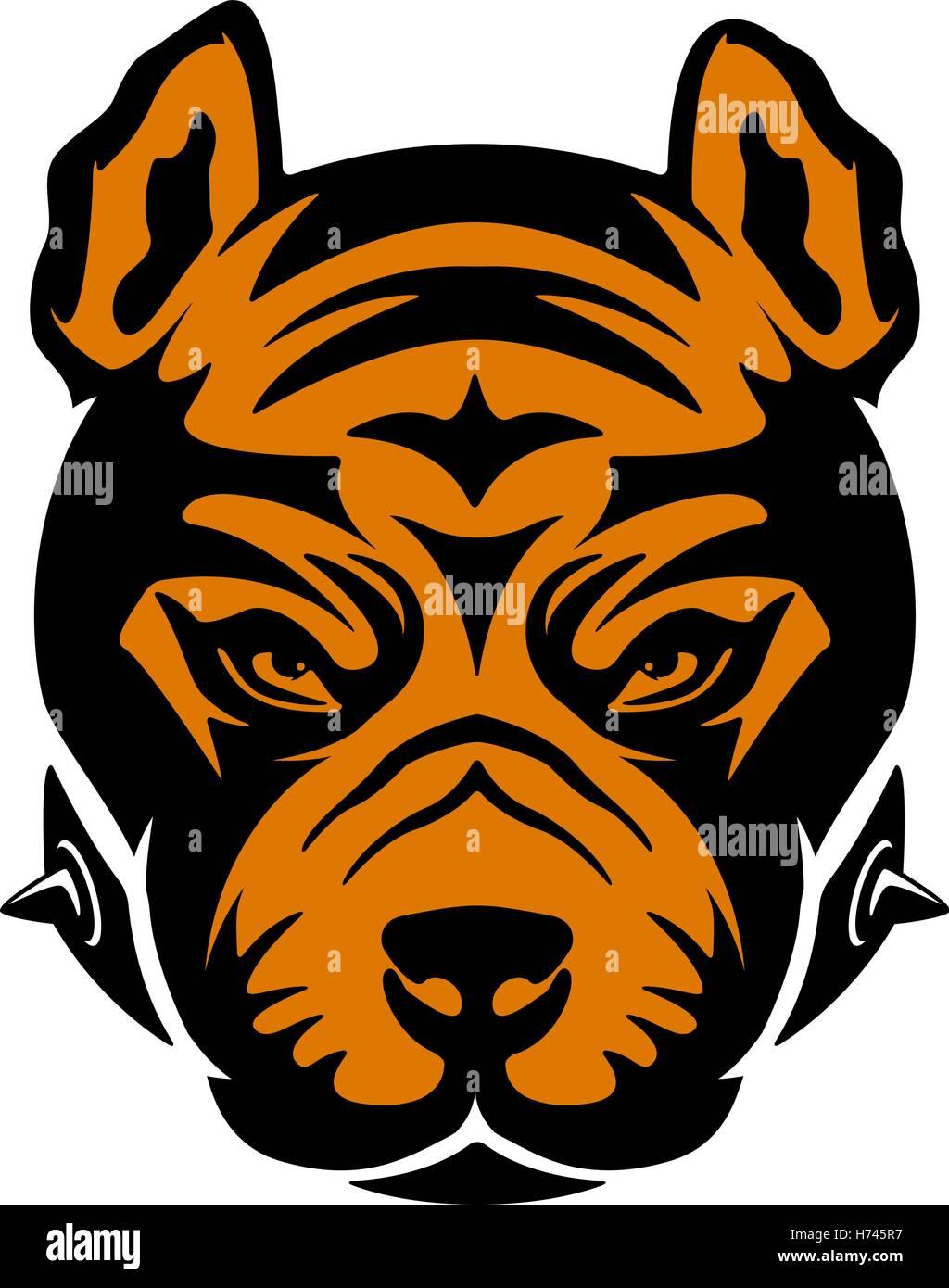 Pit bull  head isolated on white background. Design element for logo, label, emblem, sign, brand mark. Vector illustration. - Stock Image