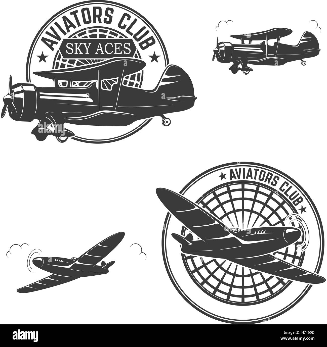 Set of aviators club labels. Retro planes. Design elements for logo, label, emblem, sign, brand mark. Vector illustration. - Stock Image
